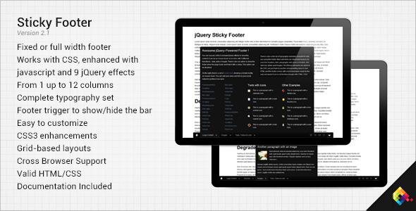 ایجاد منو فوتر زیبا با جاوا اسکریپت Sticky Footer v2.1