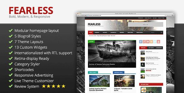 دانلود قالب مجله ای وردپرس Fearless v1.7.1 راستچین شده