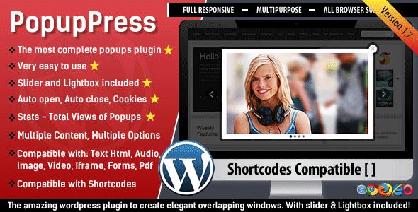 افزونه استفاده از ویژگی های پاپ آپ در وردپرس PopupPress v1.7