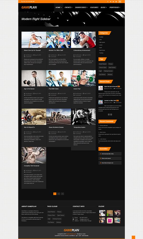 دانلود قالب وردپرس  gameplan pro برای سایت های بدنسازی ، سایت شخصی