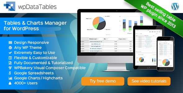 افزونه wpDataTables v1.6.2 – Tables and Charts Manager for WordPress