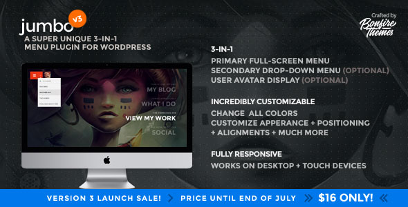 Jumbo v3.4 - A 3-in-1 full-screen menu for WordPress