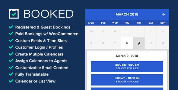 دانلود افزونه Booked v2.2.3 – Appointment Booking for WordPress