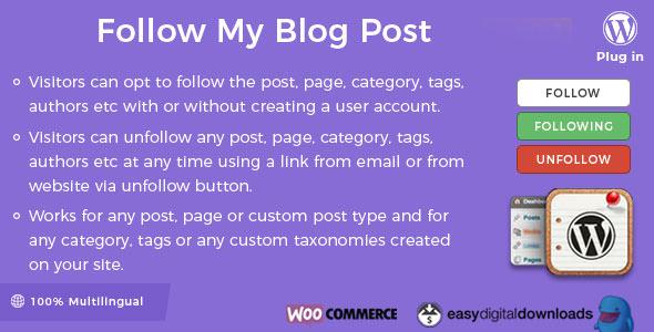 دانلود افزونه Follow My Blog Post WordPress Plugin v1.9.6