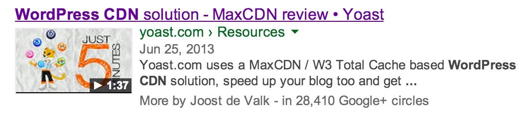 WordPress CDN - Video SEO result